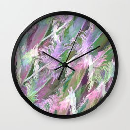Feather Fancy — Soft Greens • Pinks • Voilets Wall Clock