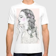 Fly high MEDIUM White Mens Fitted Tee