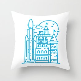 Mansion space rocket launching base Throw Pillow