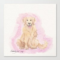 golden retriever Canvas Prints featuring Golden Retriever by Lilies and Willows