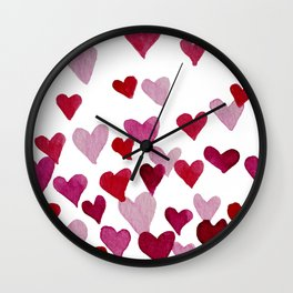 Valentine's Day Watercolor Hearts - pink Wall Clock