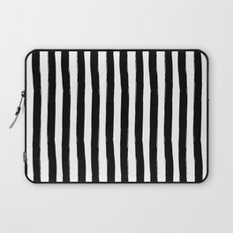 Black and White Cabana Stripes Palm Beach Preppy Laptop Sleeve