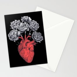 Heart with peonies on black Stationery Cards