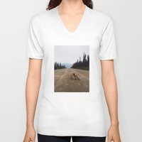 street V-neck T-shirts featuring Road Fox by Kevin Russ
