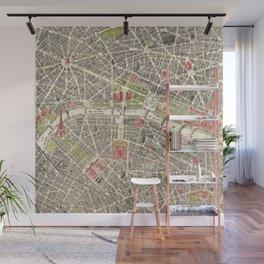 Paris, France City Map Vintage Poster, Eiffel Tower, Notre-Dame, Champs-Elysees, Arc de Triomphe, Latin Quarter Wall Mural