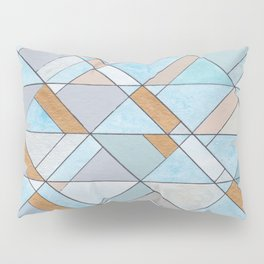 Shifting Pattern Turquoise and Gold Pillow Sham