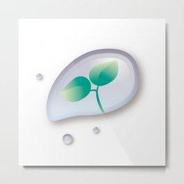 Leaf reflected in a drop of water Metal Print