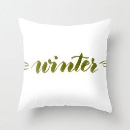 Winter - green Throw Pillow
