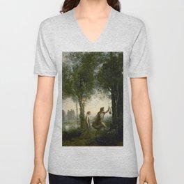 "Jean-Baptiste-Camille Corot ""Orpheus Leading Eurydice from the Underworld"" Unisex V-Neck"