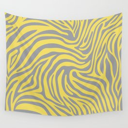 Zebra Animal Print in Ultimate Gray and Illuminating Yellow  Wall Tapestry