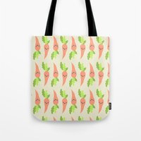 vegetable Tote Bags featuring VEGETABLE-CARROTS! by Claudia Ramos Designs