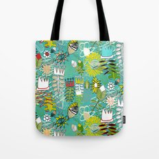 wired weed turquoise blue Tote Bag
