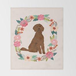 golden doodle dog floral wreath dog gifts pet portraits Throw Blanket