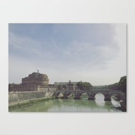 Castel St. Angelo Stands Guard Over the Tiber River - Rome, Italy Canvas Print