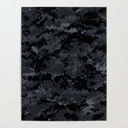 Pixelated Dark Grey Camouflage Poster