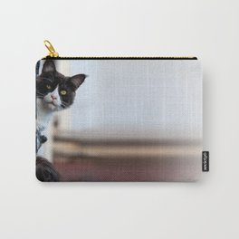 Curious Black and White Cat Carry-All Pouch