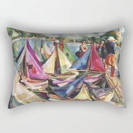 A September sun illuminates the boat tender's stand, No. 1 - The Tuileries pond, Paris Rectangular Pillow