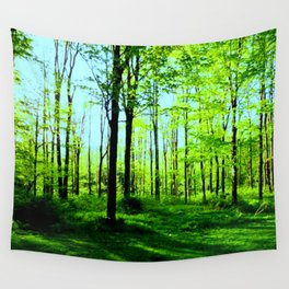 Sky Blue Morning Forest Wall Tapestry