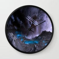 planet Wall Clocks featuring Extraterrestrial Landscape : Galaxy Planet by 2sweet4words Designs