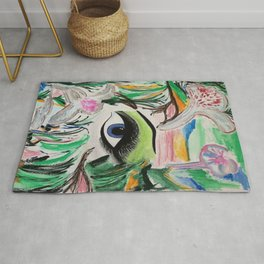 The Rain Forest Original Painting by Jodi Tomer. Blue Eye Abstract Artwork. Rug