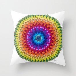 Rainbow Psychedelic Dharma Dahlia Mandala Colored Pencil Illustration by Imaginarium Creative Studio Throw Pillow