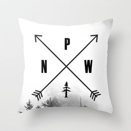 PNW Pacific Northwest Compass - Black and White Forest Throw Pillow