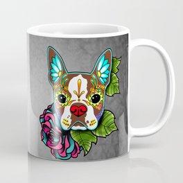 Boston Terrier in Red - Day of the Dead Sugar Skull Dog Coffee Mug
