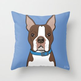 Brown Boston Terrier Art Poster Dog Icon Series by Artist A.Ramos. Designed in Bold Colors Throw Pillow
