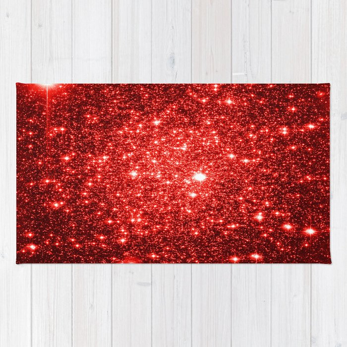 Galaxy Red Glitter Sparkle Rug