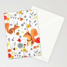 Pattern #64 - Woodland squirrels Stationery Cards