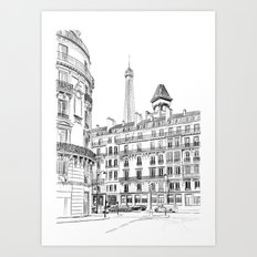 Parisian street - Architectural illustration Art Print