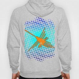 Distressed Nazca Lines Hummingbird On Gradient Blue Galaxy Hoody