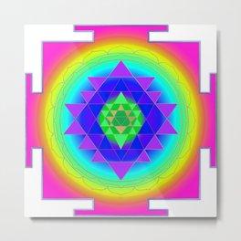 Sri Yantra, Mandala Neon Pink, Gold Accent Metal Print
