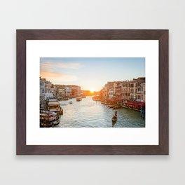 GRAND CANAL SUNSET VENICE ITALY PHOTOGRAPHY Framed Art Print