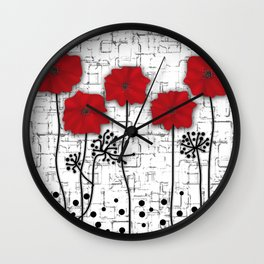 Poppies red n white background . Wall Clock