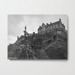 Edinburgh Castle and Fountain Metal Print