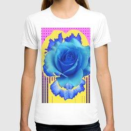 MODERN ART DECO BLUE ROSE PURPLE-YELLOW T-shirt