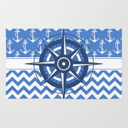Nautical Chevron Compass Rug