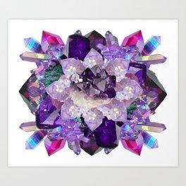Violet Crystal Explosion Mandala Art Print