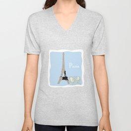 Paris in Powder Blue Unisex V-Neck