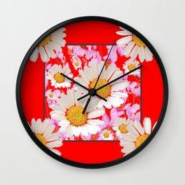 MODERN  DAISY FLOWER  RED ABSTRACT ART DESIGN Wall Clock