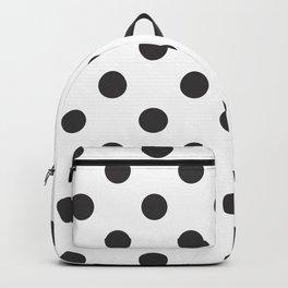 XX Large Dark Grey on White Polka Dots Backpack