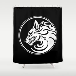White and Black Growling Wolf Disc Shower Curtain