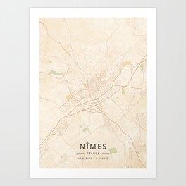 Nimes, France - Vintage Map Art Print
