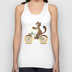 Raccoon on a bicycle Unisex Tank Top