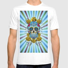 Sugar skull- Day of the dead- blue MEDIUM Mens Fitted Tee White