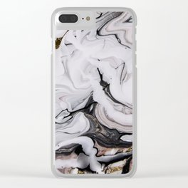 Elegant dark swirls of marble Clear iPhone Case