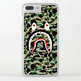 BAPE SHARK ON GREEN Clear iPhone Case