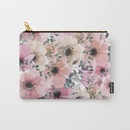 Pink and Peach Watercolor Flowers Carry-All Pouch