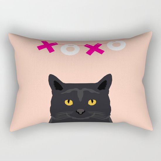 Black Cat - XOXO - hearts valentines, pink, girly, pet, cat lady, trendy girl for valentines card Rectangular Pillow